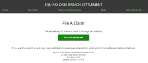 online claim form for equifax settlement